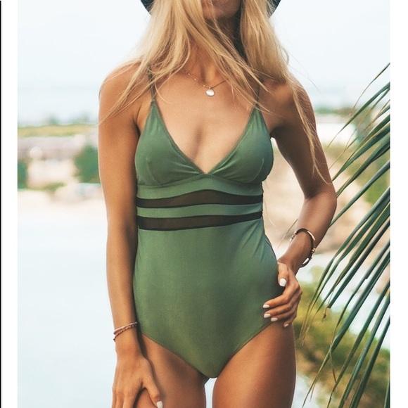 ef4c2e39361 Swim | Army Green Mesh Onepiece Suit | Poshmark